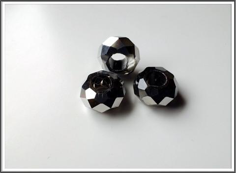 Kristallilasihelmi, 14 x 9 mm, Jet Hematite