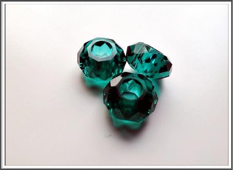 Kristallilasihelmi, 14 x 9 mm, Emerald