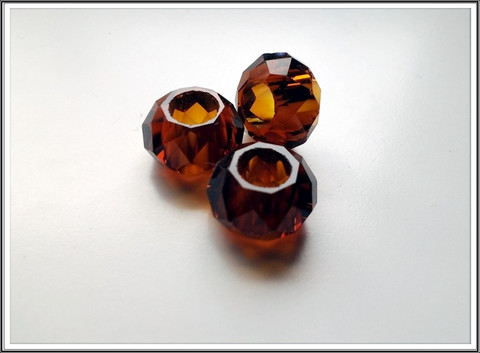 Kristallilasihelmi, 14 x 9 mm, Mokka