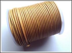 Nahkanauha pyöreä Ø 2 mm, metalli keltainen, metri