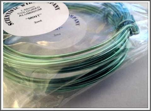 Värillinen alumiinilanka Ø 1,5 mm, 3 metriä, minttu (Mint)