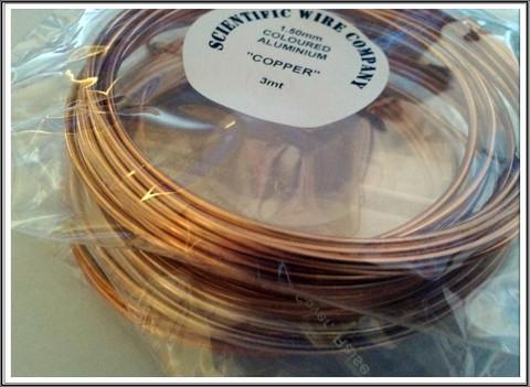 Värillinen alumiinilanka Ø 1,5 mm, 3 metriä, kupari (Copper)