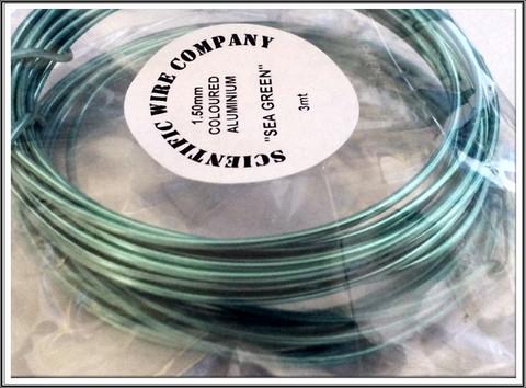 Värillinen alumiinilanka Ø 1,5 mm, 3 metriä, merenvihreä (Sea green)