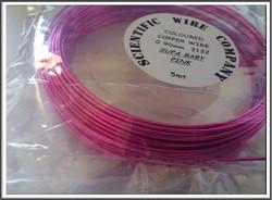 Värillinen kuparilanka Ø 0,9 mm, 5 metriä, kirkas pinkki