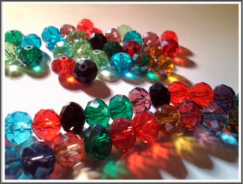 Kristallirondellit 10 x 7 mm, värimix, 10 kpl/pss