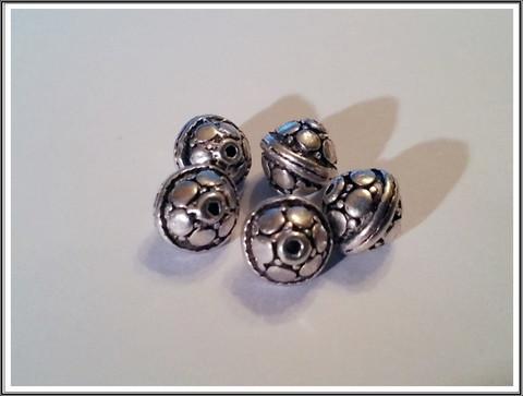 Metallihelmi 9 mm bicone, antiikkihopean värinen, 5 kpl
