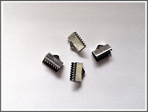 Nauhanpäätteet 10 mm nauhalle, antiikkihopea, pari