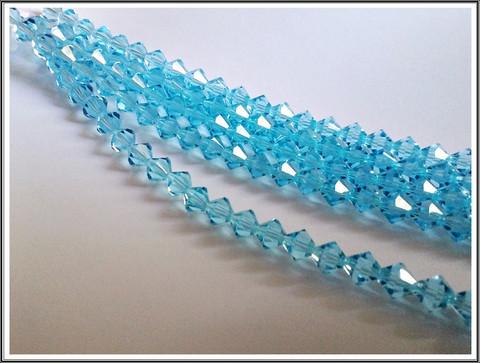 Tsekkiläinen kristallibicone 8 mm, Aqua, 25 kpl nauha