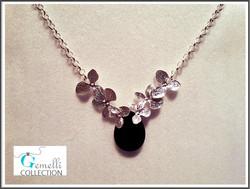 Kaulakoru, kukat ja Obsidiaanipisara, hopeoitu