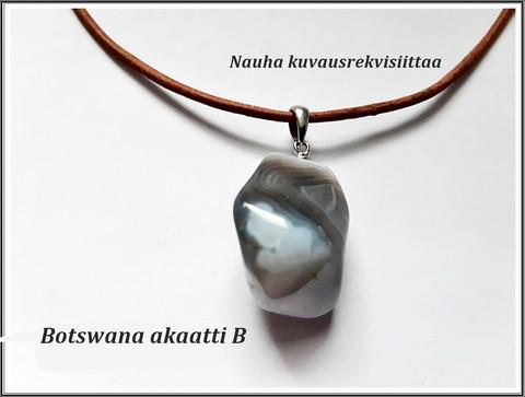 Botswana akaatti, kiviriipus .925 hopeisella pidikkeellä