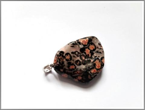 Leopardijaspis, uniikki kiviriipus .925 hopeisella pidikkeellä