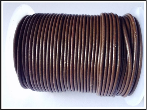 Nahkanauha pyöreä Ø 2 mm, kahvinruskea, metri