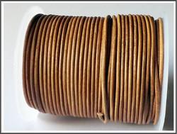 Nahkanauha pyöreä Ø 2 mm, tumma luonnonvärinen, metri