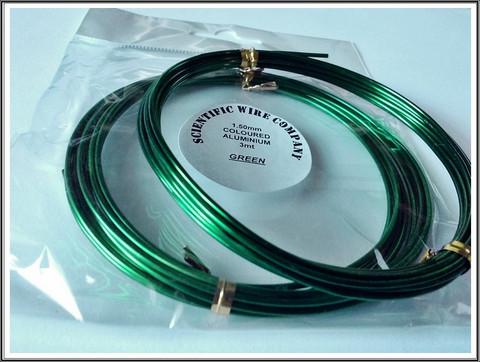 Värillinen alumiinilanka Ø 1,5 mm, 3 metriä, vihreä (Green)