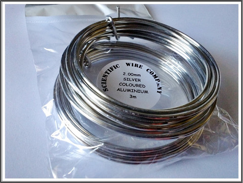 Värillinen alumiinilanka Ø 2 mm, 3 metriä, hopea