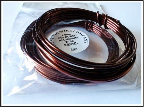 Värillinen alumiinilanka Ø 2 mm, 3 metriä, ruskea