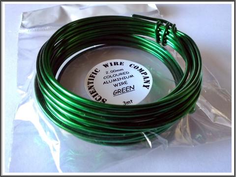 Värillinen alumiinilanka Ø 2 mm, 3 metriä, vihreä