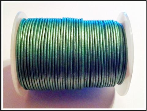 Nahkanauha Ø 1 mm, Metallivihreä, 1 metri