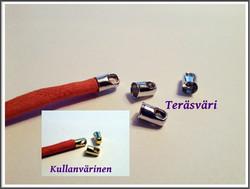 Nauhanpäät, Ø 5 mm sylinteri, teräsväri/kulta, 10 kpl