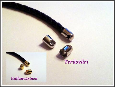 Nauhanpäät Ø 6 mm sylinteri, teräsväri/kulta, 10 kpl