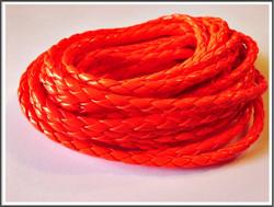 Jäljitelmänahkanauha, punottu Ø 4.5 mm, neon oranssi, metri
