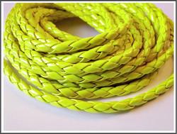 Jäljitelmänahkanauha, punottu Ø 4.5 mm, neon keltainen, metri