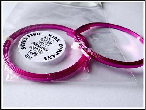 Litteä kuparilanka 3 mm, 1 metri, pinkki