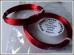 Värillinen kuparilanka Ø 1.25 mm, 3 metriä, punainen