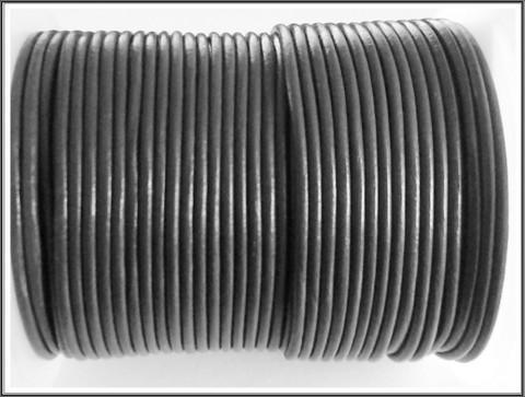 Nahkanauha pyöreä Ø 2 mm, harmaa, metri