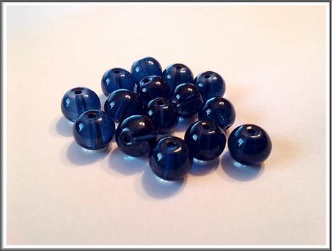 Lasihelmi 10 mm pyöreä, sininen, 30 kpl