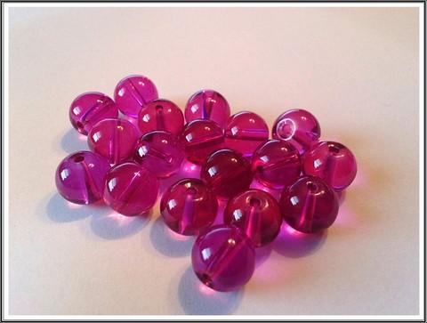 Lasihelmi 10 mm pyöreä, pinkki, 30 kpl