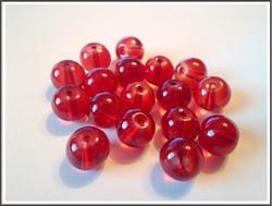 Lasihelmi 10 mm pyöreä, punainen, 30 kpl
