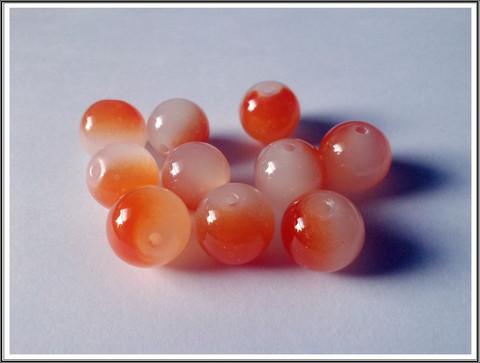 Lasihelmi 12 mm pyöreä, oranssi-valk., 10 kpl