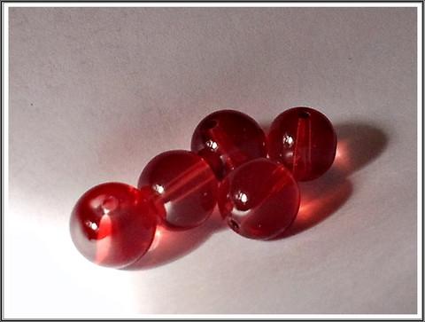 Lasihelmi 12 mm pyöreä, punainen, 20 kpl