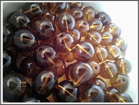 Lasihelmi 12 mm pyöreä, kullanruskea, 20 kpl