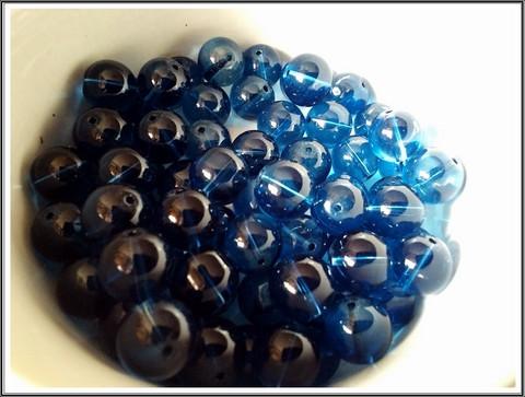 Lasihelmi 12 mm pyöreä, sininen, 20 kpl