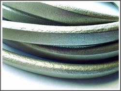 Nahkanauha Regaliz®, 10 x 7 mm, sileä, metalliharmaa