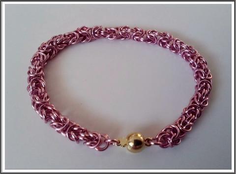 Rannekoru, kuningasketju alumiinirenkaista, roosa