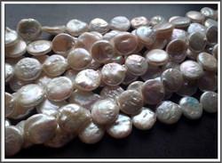 Makeanveden helmi, kolikko 12-12,5 mm, valkoinen, 5 kpl