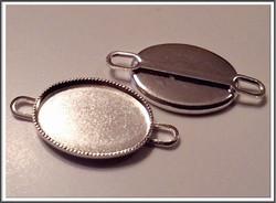 Korupohja, linkki, hopeoitu, ovaali 18 x 13 mm