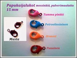 Papukaijalukko 15 mm, pulverimaalattu, eri värejä