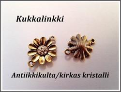 Korulinkki kukka kristalleilla, antiikkikulta/kirkas kristalli