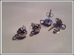 Korvistapit .925 hopea, kukka Ø 8 mm, sis. taustalukot, pari
