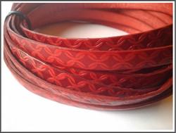 Nahkanauha 10 x 2 mm, kohokuvioitu, ketju, punainen