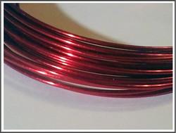 Värillinen kuparilanka Ø 1,0 mm, 4 metriä, kirkas punainen