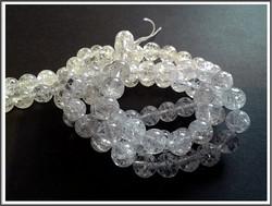 Vuorikristalli, särö, pyöreä Ø 8 mm, ½ nauha