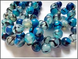 Akaatti Dragon Veins, pyöreä Ø 10 mm, sininen, ½ nauha