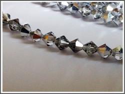 Tsekkiläinen kristallibicone 8 mm, Crystal/Labrador, 25 kpl nauha