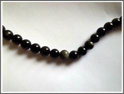 Obsidiaani, pyöreä Ø 10 mm, ½ nauha