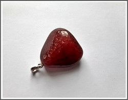 Punainen aventuriini, uniikki kiviriipus 925 hopeisella pidikkeellä